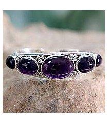 amethyst cuff bracelet, 'mystic violet' (india)