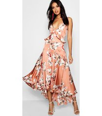 boutique satijnen lo losvallende bloemenprint jurk met ruches, nude