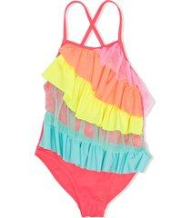 billieblush ruffled overlay swimsuit - pink