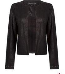 jacket suedine coated stud details