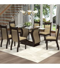 mesa de jantar 6 lugares lizzy nogueira/gold - viero móveis