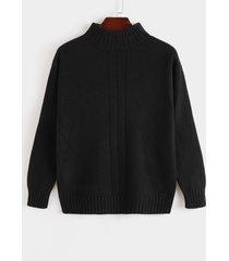 hombres otoño invierno roll cuello suéter de punto informal de color sólido