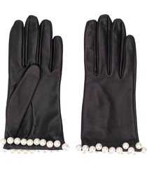 manokhi embellished textured gloves - black
