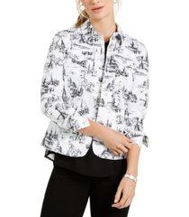 charter club petite printed jacquard jacket, created for macy's