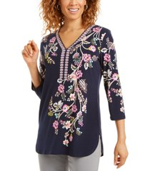 jm collection petite studded floral-print tunic, created for macy's