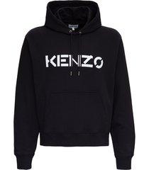 kenzo jersey sweatshirt with logo print