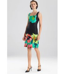 ophelia jacquard dress, women's, black, cotton, size 4, josie natori