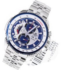 reloj casio ef-558d-2a lujoso para caballero plateado/ azul