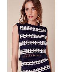 top cropped crochet bicolor marinho