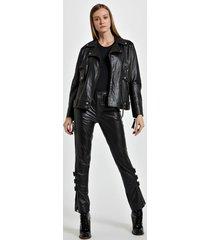 jaqueta de couro motor biker preto