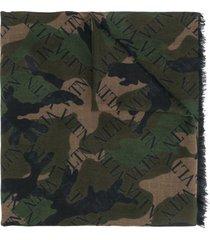 valentino garavani vltn camouflage scarf - green
