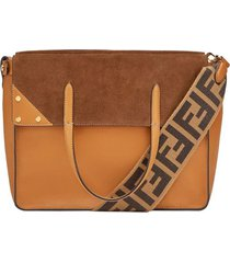 fendi regular fendi flip tote bag - brown