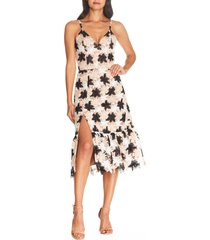 dress the population chantal floral multihue lace party dress, size large in black multi at nordstrom