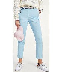 pantalón cotton tencel slim azul tommy hilfiger