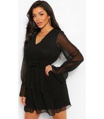 dobby mesh skater jurk met v-hals en laagjes, zwart