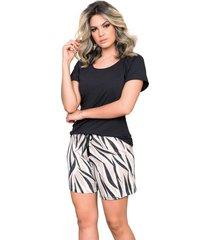 pijama curto feminino com blusa curta preta e shorts zebra - kanui