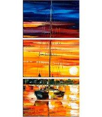 conjunto de telas decorativa barco a vela médio love decor - kanui