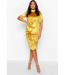 plus high neck crushed velvet midi dress, mustard