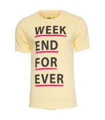 camiseta masculina weekend forever - amarelo