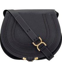 chloé marcie shoulder bag in black leather