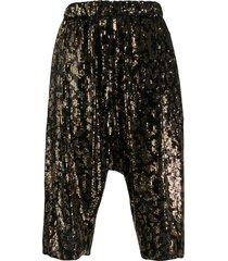 nº21 sequinned drop-crotch shorts - black
