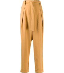 forte forte belted wide leg trousers - yellow
