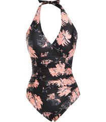 flower halter backless ruched tummy control one-piece swimsuit