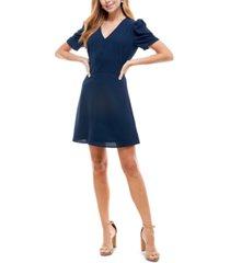be bop juniors' puff-sleeve fit & flare dress