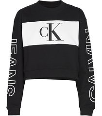 blocking satement logo crew neck sweat-shirt trui zwart calvin klein jeans