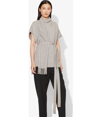 proenza schouler draped scarf cashmere short sleeve knit pullover light grey melange l
