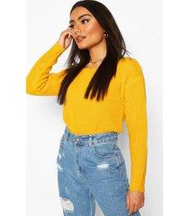 slash neck crop fisherman sweater, yellow
