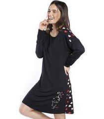 camisola de manga longa com corações feminino - feminino