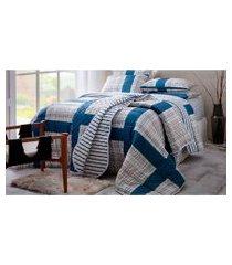 jogo de cama queen 140 fios sultan realce masoala 4pçs azul marinho