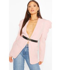 puff sleeve faux leather belted blazer, pink