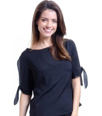 blusa 101 resort wear crepe mangas laço preto