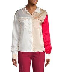colorblock spread collar shirt