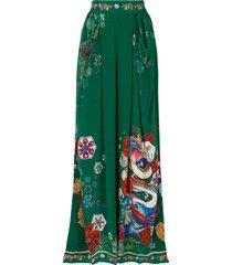 camilla emeralds orbit print wide-leg trousers - green