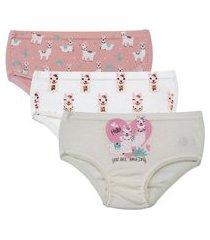 kit 6 calcinhas infantil malha dupla 381 a rosa