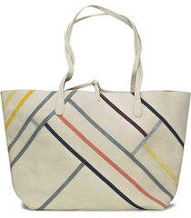 bolsa sacola desigual color block off-white - off white - feminino - dafiti
