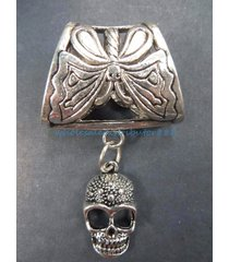 skull slider pendant scarf and jewelry