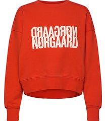 organic sweat tilvina p sweat-shirt trui rood mads nørgaard