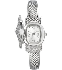charter club women's silver-tone crystal snowflake cover bracelet watch 30mm, created for macy's