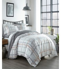 city scene atlas plaid full/queen duvet cover set bedding