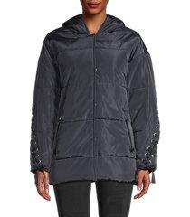 maje women's lace puffer jacket - marine - size 1 (s)