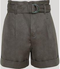short de sarja feminino clochard cintura super alta com cinto verde militar