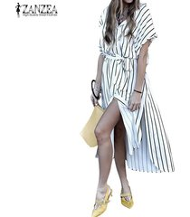 zanzea playa de las mujeres de verano de alta dividir la camiseta vestido de la túnica a rayas floja sundress -blanco