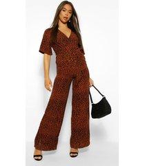 luipaardprint wikkel jumpsuit met kimono mouw en ceintuur, geelbruin