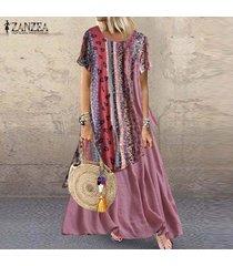 vestido largo con estampado floral zanzea para mujer-rosado