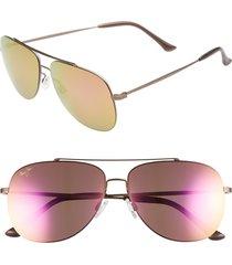 women's maui jim cinder cone 58mm polarizedplus2 aviator sunglasses - satin sepia/ maui sunrise