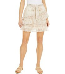 derek heart juniors' printed ruffle tiered mini skirt